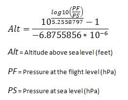 formula for calculating altitude given pressure