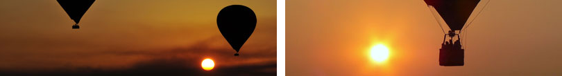 hot air balloons flying at sunrise
